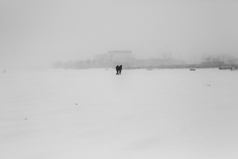 """Série """"Blanc"""" la neige sur une plage de Méditerranée  Hiver 2018"""